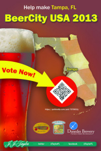 Our friends at JJ Taylor Distributing Florida have put up this poster at various craft beer establishments in the Tampa Bay area. Scan the QR code and VOTE TAMPA!