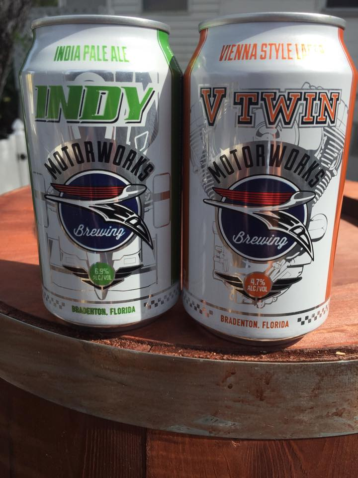 Motorworks Brewing in Bradenton has just finished the first run of printed cans for its V Twin Bohemian Lager and Indy IPA. Six-packs should be on the shelf in early June.