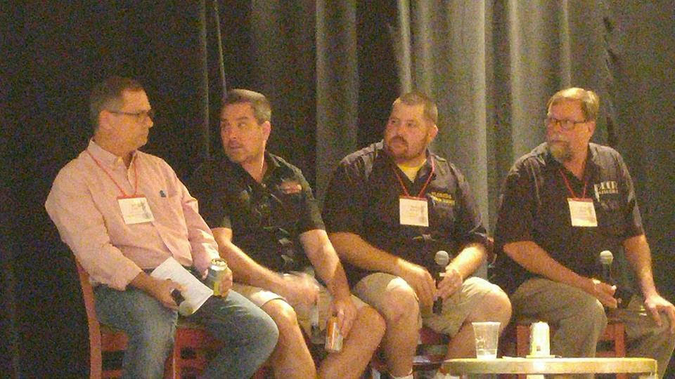 From left, panelists Eric Criss of the Beer Industry of Florida; Joey Redner, founder of Cigar City Brewing, and Mark DeNote of FloridaBeerNews.com. On the far right is yours truly, Gerard Walen, moderator of